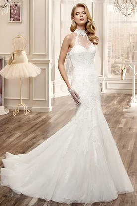 High-Neck Mermaid Lace Wedding Dress With Appliques And Keyhole Back