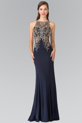 Sheath Bateau Sleeveless Jersey Illusion Dress With Beading And Pleats