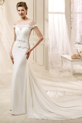 Jewel-neck Beaded Wedding Dress with Lace Bodice and Satin Skirt