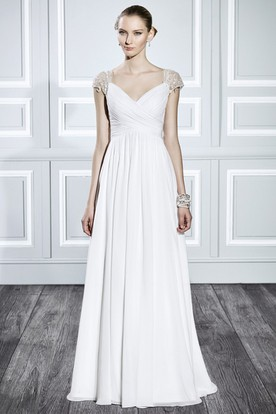V-Neck Maxi Criss-Cross Cap-Sleeve Chiffon Wedding Dress