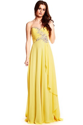 Maxi Beaded Sleeveless Sweetheart Chiffon Prom Dress