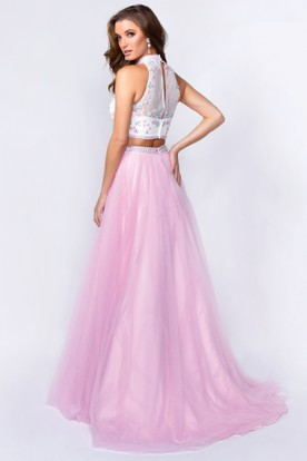 A-Line Long Jewel-Neck Sleeveless Tulle Illusion Dress With Appliques And Flower