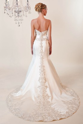 Trumpet Maxi Sweetheart Satin Wedding Dress With V Back