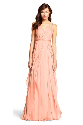 Sheath Jeweled Spaghetti Chiffon Bridesmaid Dress With Draping And Tiers