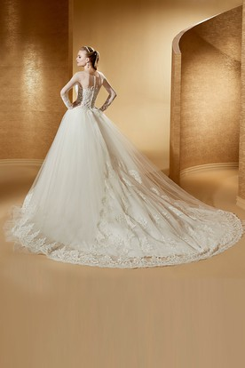 Fabulous Long-Sleeve Ball Gown With Jewel Neck And Court Train