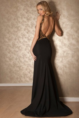 Floor-Length Scoop Beaded Chiffon Prom Dress With Brush Train And Keyhole