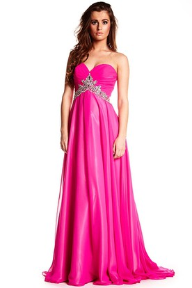 Beaded Sleeveless Sweetheart Chiffon Prom Dress