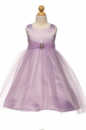 Tea-Length Beaded Tulle&Satin Flower Girl Dress With Broach