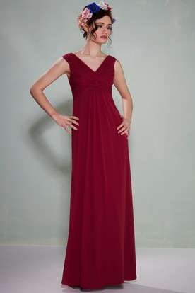 Ruched Sleeveless V-Neck Empire Chiffon Bridesmaid Dress
