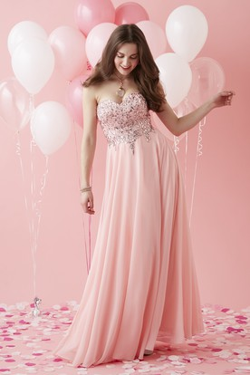 A-Line Sweetheart Sleeveless Tulle Lace-Up Dress With Beading And Pleats