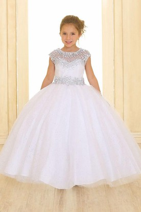 Maxi Illusion Tiered Pleated Tulle&Organza Flower Girl Dress With Sash