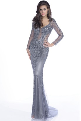 Mermaid Tulle Long Sleeve Prom Dress With Shining Rhinestones And Brush Train