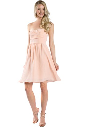 A-Line Short Strapless Ruched Chiffon Muti-Color Convertible Bridesmaid Dress