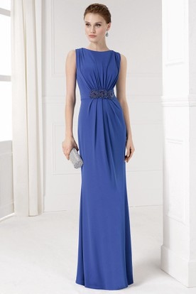 Sheath Long Jeweled Jewel-Neck Sleeveless Chiffon Prom Dress With Ruching