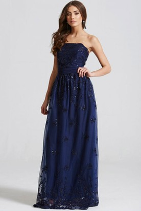 Strapless Appliqued Chiffon Bridesmaid Dress With Beading