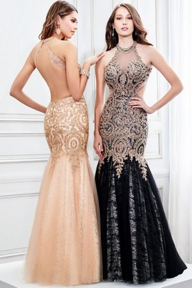 Mermaid High Neck Sleeveless Appliqued Tulle Prom Dress With Keyhole