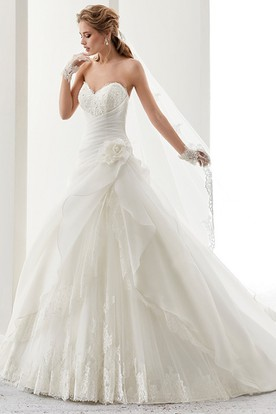 Sweetheart A-line Gown with Bandage Waist and Side Flower Ruffles