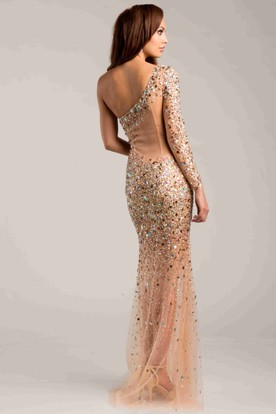Form-Fitted One-Shoulder Sequined Prom Dress With Rhinestone Detailing