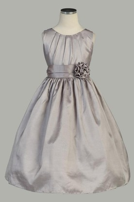 Tea-Length Pleated Taffeta Flower Girl Dress