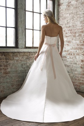 Floor-Length Strapless Jeweled Satin Wedding Dress With Court Train