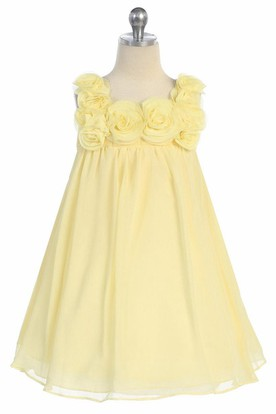 Midi Sleeveless Chiffon Flower Girl Dress