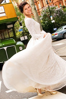 Sheath Floor-Length Long-Sleeve Lace Wedding Dress With Illusion Back
