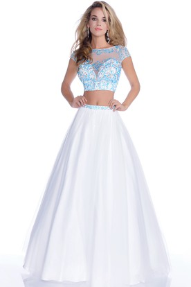 Cap Sleeve Crop Top A-Line Tulle Gown With Jeweled Lace Bodice