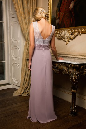 Beaded Bateau Neck Sleeveless Chiffon Bridesmaid Dress With Low-V Back