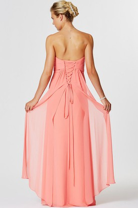 Sweetheart Ruched Sleeveless Chiffon Bridesmaid Dress With Lace-Up Back