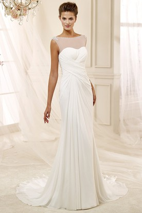 Jewel-Neck Cap-Sleeve Draping Chiffon Wedding Dress With Bandage Waist And Illusive Neckline