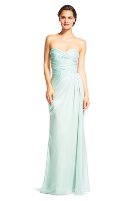 Sheath Maxi Sweetheart Sleeveless Criss-Cross Chiffon Bridesmaid Dress