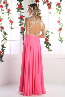 A-Line Bateau Sleeveless Chiffon Keyhole Dress With Beading And Pleats