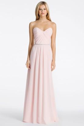 Jeweled Sweetheart Sleeveless Chiffon Bridesmaid Dress