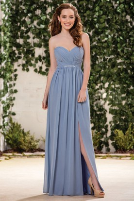 Sweetheart A-Line Chiffon Bridesmaid Dress With Front Slit And Crystals