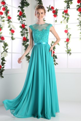 A-Line Jewel-Neck Cap-Sleeve Chiffon Illusion Dress With Lace And Pleats