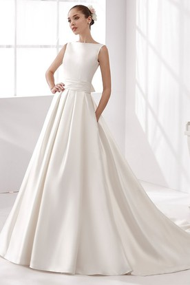 Cap-Sleeve Satin A-Line Wedding Dress With Cinched Waistband And Open Back