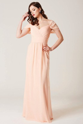 Sheath Cap Sleeve V-Neck Ruched Chiffon Bridesmaid Dress