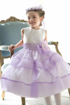 Floral Tea-Length Tiered Beaded Sequins&Organza Flower Girl Dress With Split Front