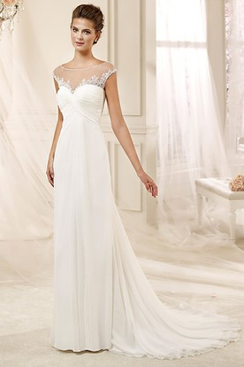 Jewel-Neck Draping Chiffon Wedding Dress With Illusive Neckline And Pleated Bust