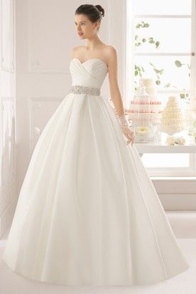 Ball Gown Floor-Length Sweetheart Jeweled Satin Wedding Dress With Criss Cross And Illusion