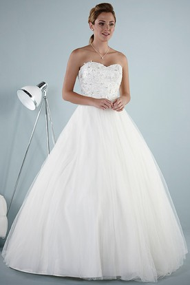 A-Line Sweetheart Sleeveless Beaded Tulle Wedding Dress With Lace-Up