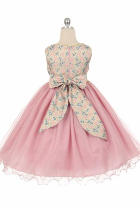 Tea-Length Floral Floral Beaded Tulle Flower Girl Dress With Sash