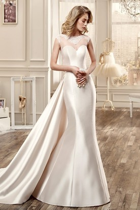 Sweetheart Cap-Sleeve Satin Wedding Dress With Large Back Bow And Illusive Back