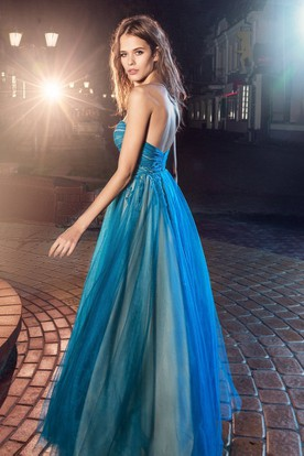 A-Line Sweetheart Sleeveless Tulle Backless Dress With Criss Cross