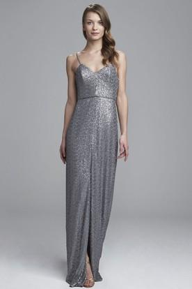 Sheath Spaghetti Sleeveless Split-Front Sequin Bridesmaid Dress