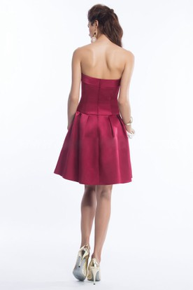 Strapless A-Line Short Satin Bridesmaid Dress With Pleats