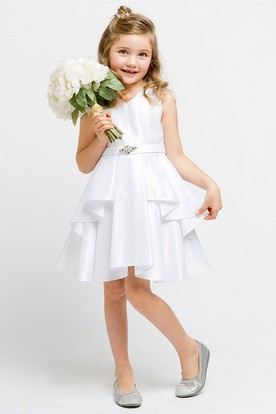 Knee-Length Split Split-Front Beaded Satin Flower Girl Dress With Sash