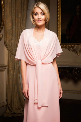 Maxi Scoop Neck Appliqued Poet Sleeve Chiffon Bridesmaid Dress