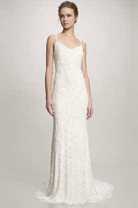Floor-Length Spaghetti Lace Wedding Dress With Brush Train And V Back