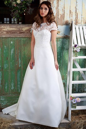 Country rustic wedding gowns country bridals dresses ucenter scoop neck appliqued short sleeve floor length satinlace wedding dress junglespirit Images